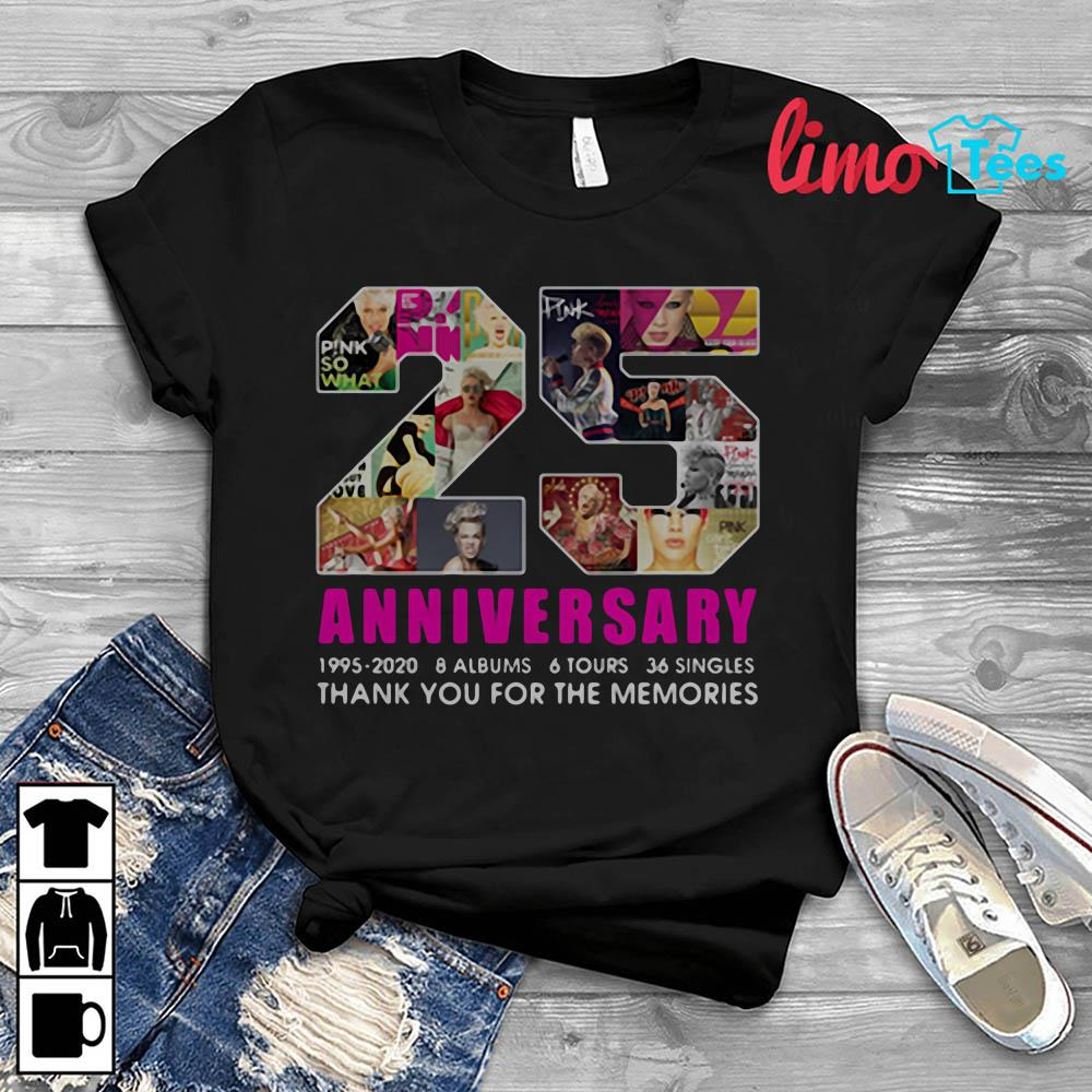 Pink 25 years anniversary thank you for the memories shirt