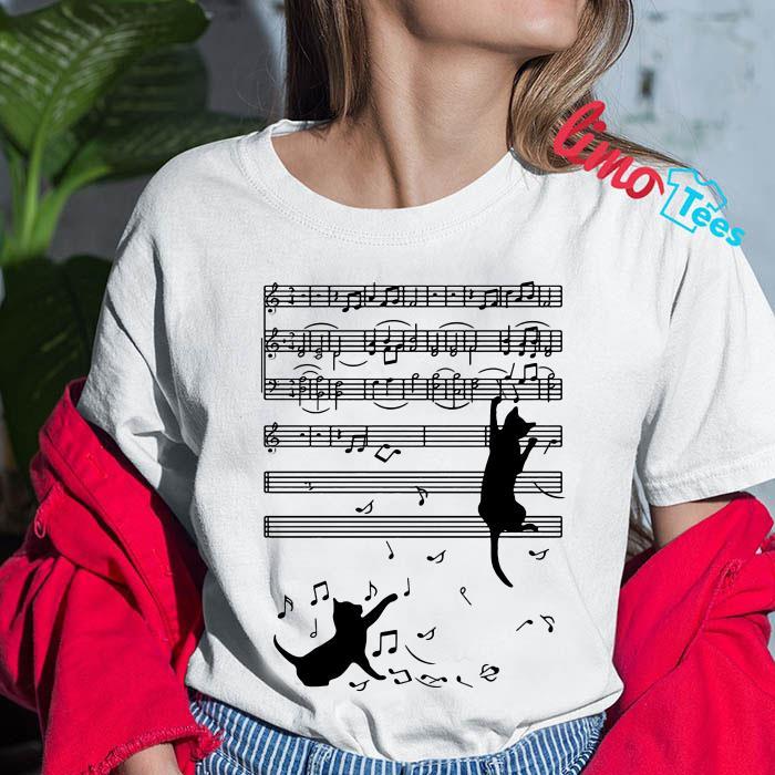 Musical cat music notes shirt