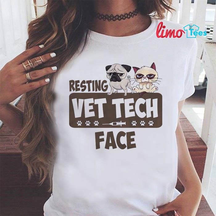 Pug and Grumpy resting vet tech face shirt