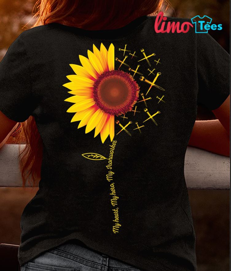 Sunflower my heart my hero my Ironworkers shirt, ladies