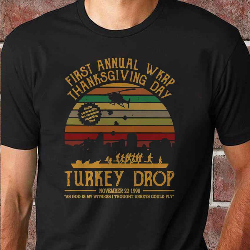 First annual wkrp thankgiving day Turkey drop retro vintage shirt