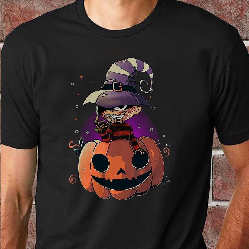 Freddy Krueger chibi on pumpkin halloween shirt