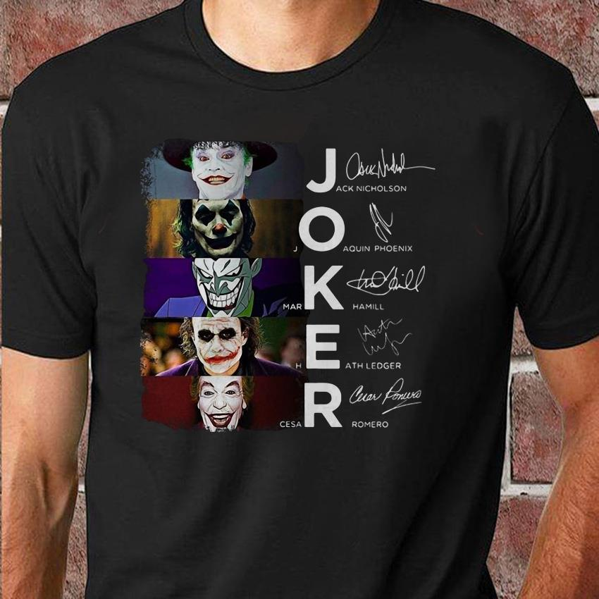 Joker all movie characters signed unisex shirt