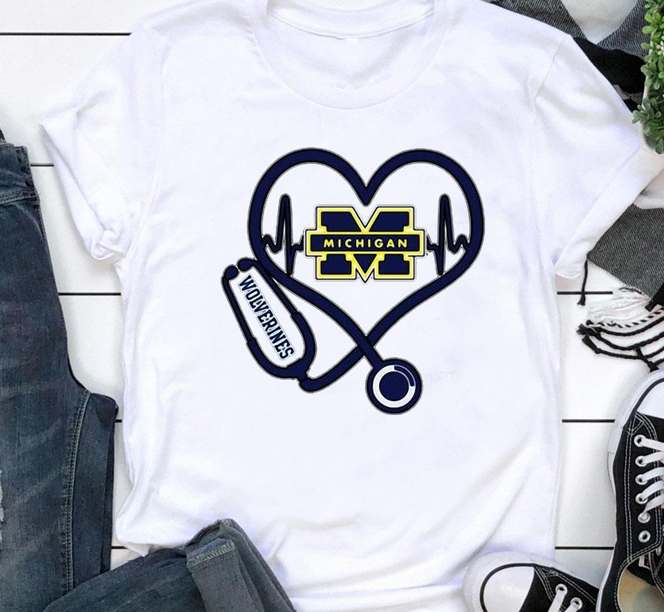 Nurse Michigan Wolverines heart unisex shirt