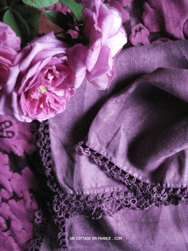 The purple hand dyed cottage tablecloth