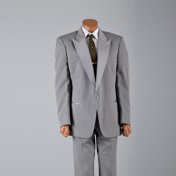 L Vintage 1980s 80s Christian Dior Silver Tuxedo Gray Tux