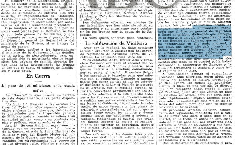 """<span class=""""entry-title-primary"""">¿Fingió Azaña apoyar a los sublevados en Vicálvaro?</span> <span class=""""entry-subtitle"""">El Director General de Seguridad aseguró a los militares que el Presidente estaba con ellos y les pedía apoyo para desarmar a los milicianos</span>"""