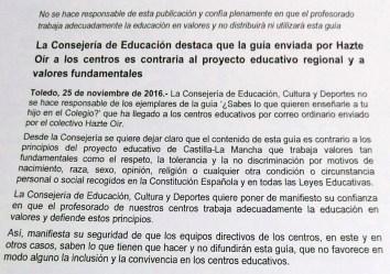 Comunicado de la Consejería de Educación de Castilla-La Mancha pidiendo que no se distribuya un folleto de HazteOir.org.