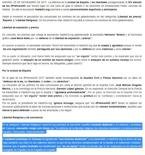 Noticia de HO el 25 de noviembre, mencionando al cardenal Urosa.