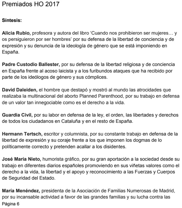 Dossier Premios HO 2017 con Urosa.