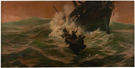 Nuevo peligro (1897). Óleo sobre lienzo, 147 x 295 cm. Obra de José FERNÁNDEZ ALVARADO, Copyright de la imagen ©Museo Nacional del Prado