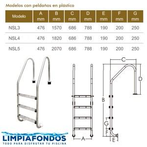 Escalera Muro NSL Peld Plastico 42mm 3 a 5 Peldaños