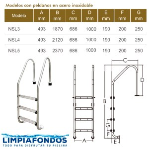 Escalera Muro NSL Alta Peld Acero 42mm 3 a 5 Peld