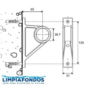 Soporte Tubo Pasamanos 38mm