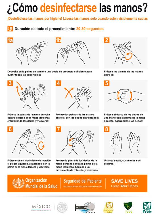 Lavado y desinfeccion de manos limpieza e higiene for Metodos de limpieza y desinfeccion en el area de cocina