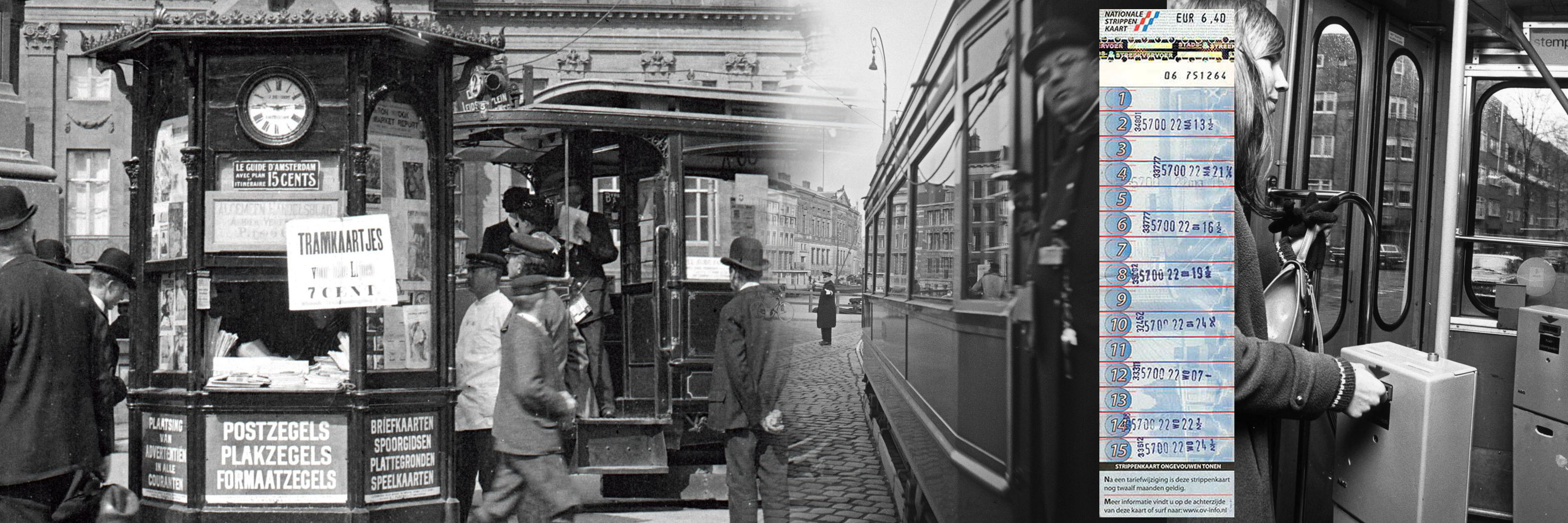 Kiosque selling tramway and other tickets at Dam square Amsterdam and open balcony tram with conductor selling tickets as well.