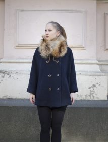 Blue cape & fur collar, recycled material