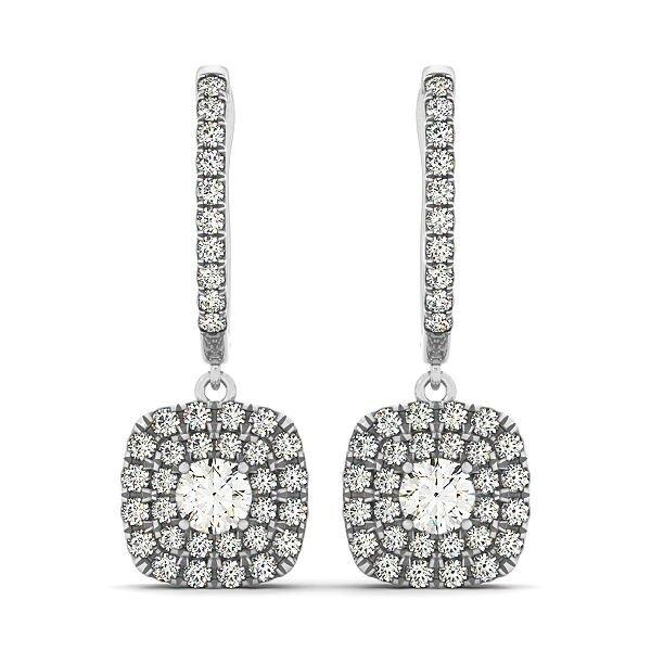 Buy Round Diamond Double Cushion Halo Drop Earrings in 14K