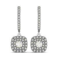 Buy Round Diamond Double Cushion Halo Drop Earrings in 14K ...