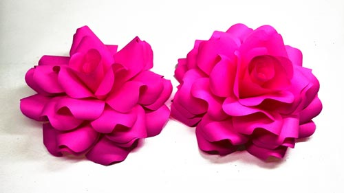 How to make a realistic and easy paper roses (Giant Paper Roses) Rose Paper Tutorial #2018