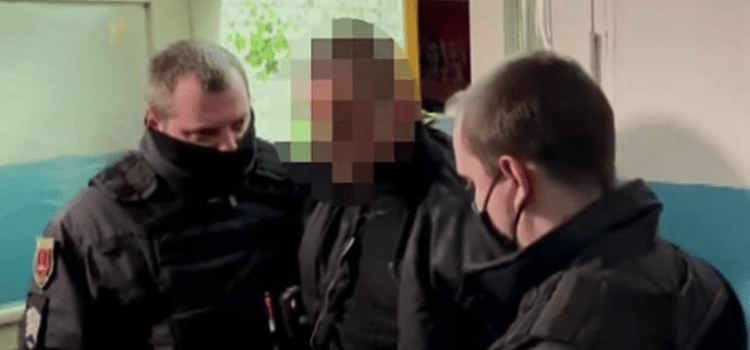 A Ukrainian man has been arrested for killing his father and wearing the dead man's intestines on his neck.