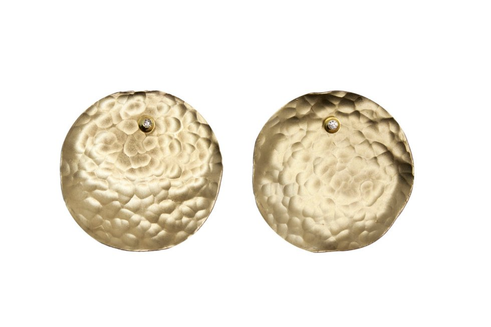 18k Gold and Hammered Brass Round Earrings Set with Diamonds