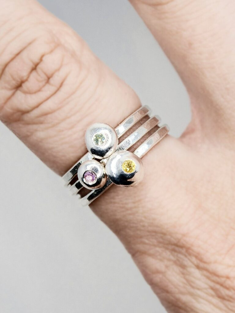 Silver Pebble Stacking Rings with Color Sapphires