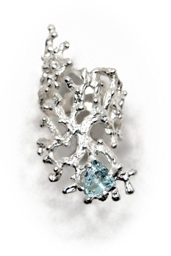 Silver Sculpture Ring with Trillion Aquamarine