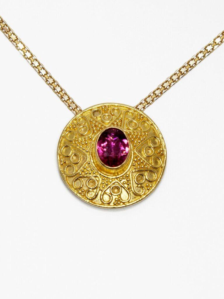 22k Gold Granulation Round Pendant with Rubellite Tourmaline