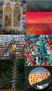 Grid of images from artists participating in the Art on the Edge Studio Tour