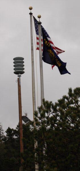 Five sirens erected at strategic spots throughout town gird Depoe Bay, like this earsplitting speaker across from Worldmark Resort.