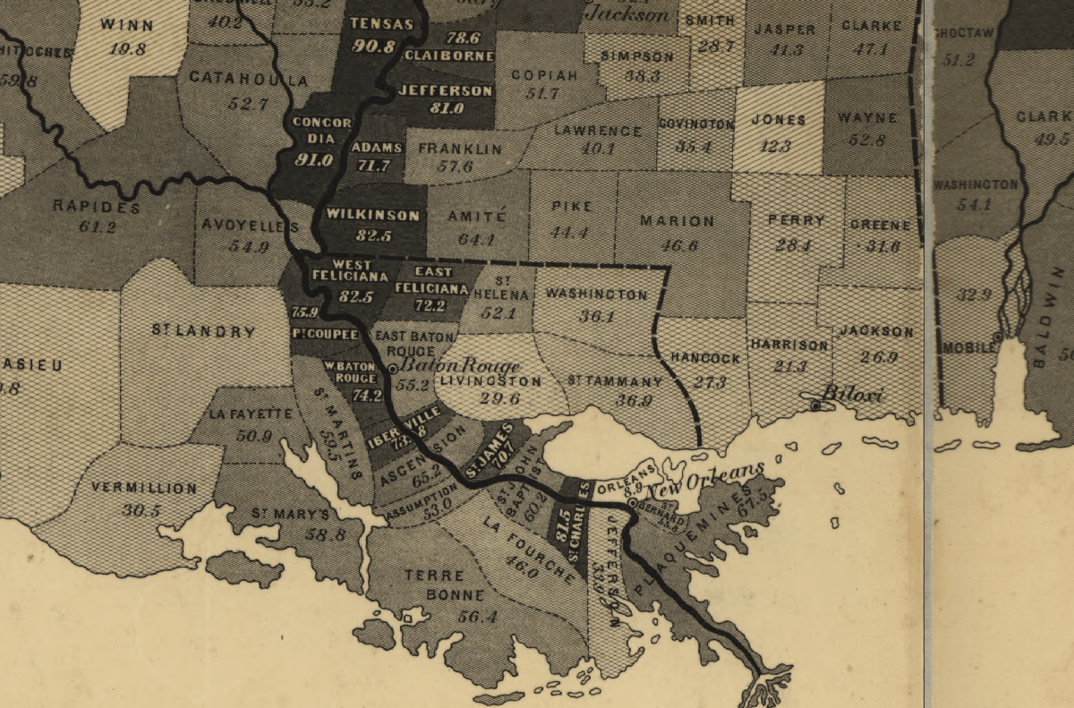 a detail from the u s coast survey map of slavery showing the mississippi river and delta