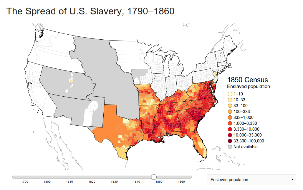 Mapping The Spread Of American Slavery The Backward Glance - Map of the us in 1840