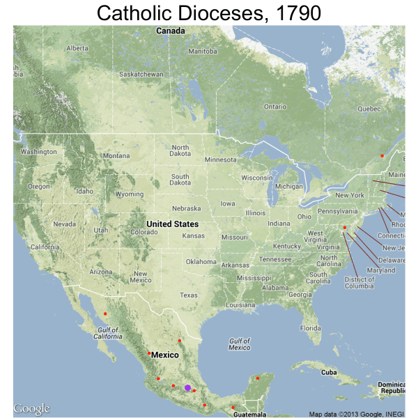 Maps of Catholic Dioceses in the US Canada and Mexico
