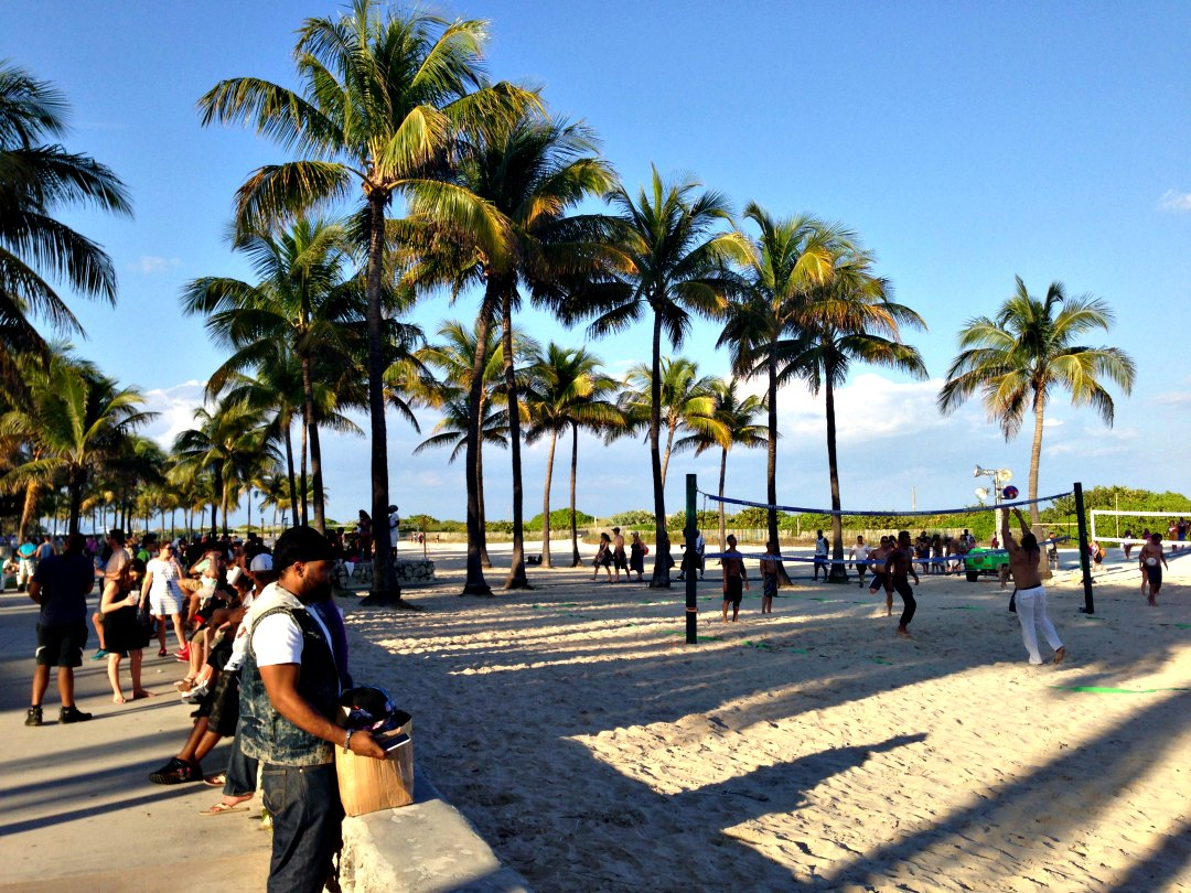 Beach Volley Ball courts along Ocean Drive. Work up an appetite and head to Lincoln Road.