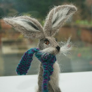 grey hare sculpture