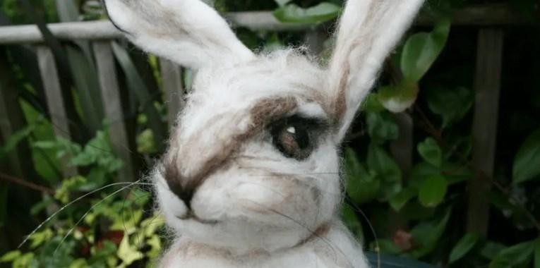 life size needle felted hare