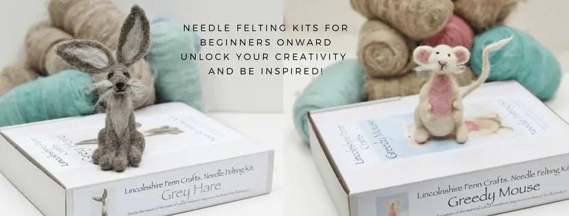 hare and mouse needle felting kits