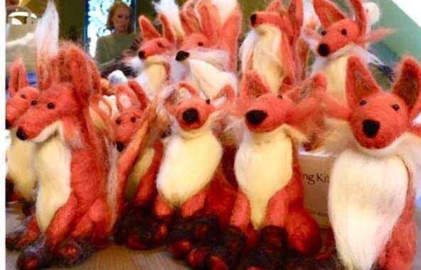foxes made at needle felting workshop