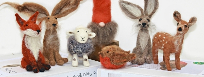 needle felted animals and gnomes
