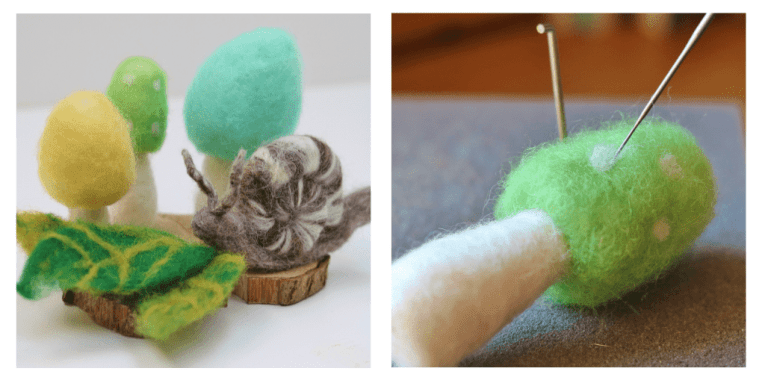 needle felted mushroom, snail and leaves