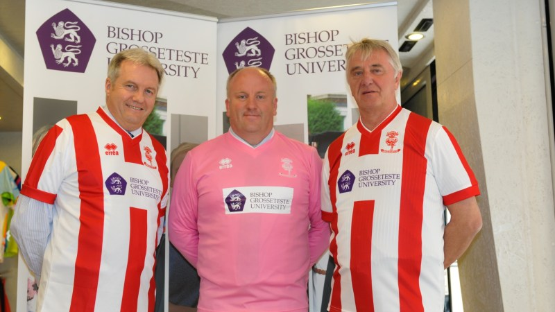 Pictured wearing the new Lincoln City home shirts for the 2016-17 season are (left to right) are the Reverend Canon Professor Peter Neil, Vice Chancellor of BGU, Dr Graham Basten, Head of Social Sciences at BGU, and Ian Reeve, Lincoln City director. Photo: Emily Bennett / BGU