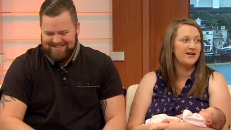 Jessica Stubbins appearing on Good Morning Britain with dad Tom and baby Lucy. Photo: ITV