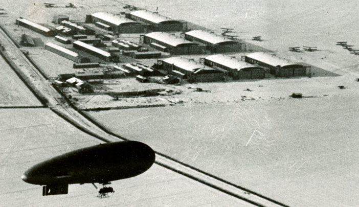 An airship from the Royal Naval Air Station Cranwell looks down on the Army's Royal Flying Corps airfield at Waddington in late 1917. Photo: Aviation Heritage Lincolnshire