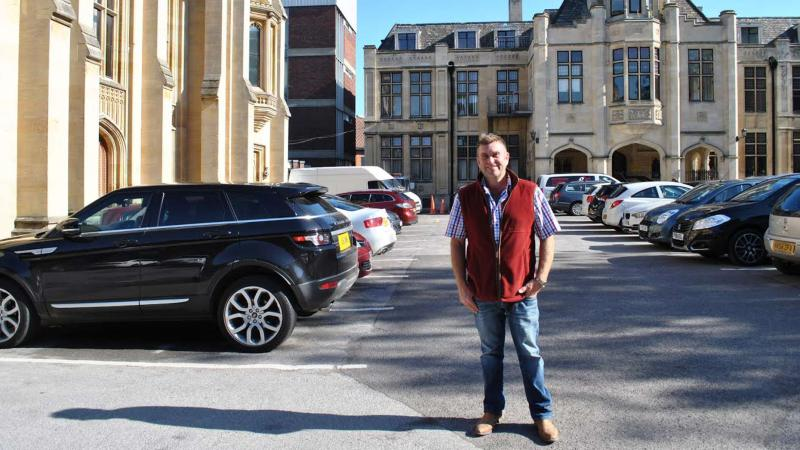 Entrepreneur being the project Paul Wilkinson outside the new business and retail complex.