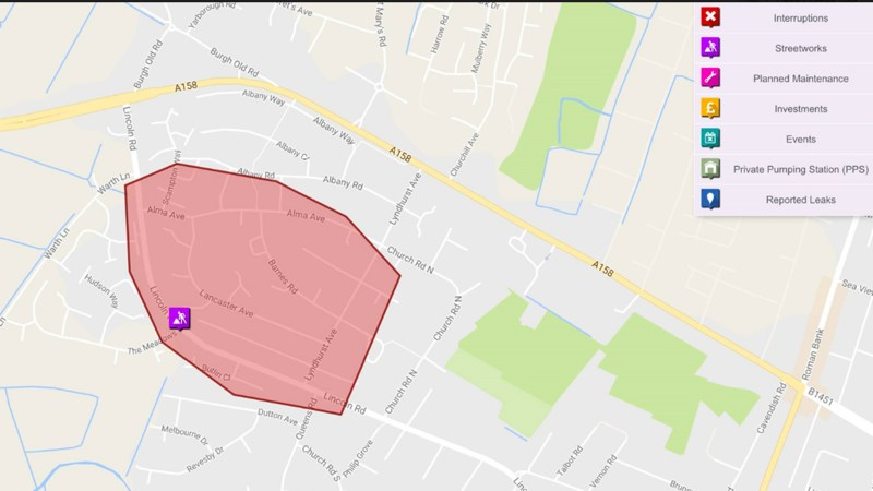 The area affected by the burst water main