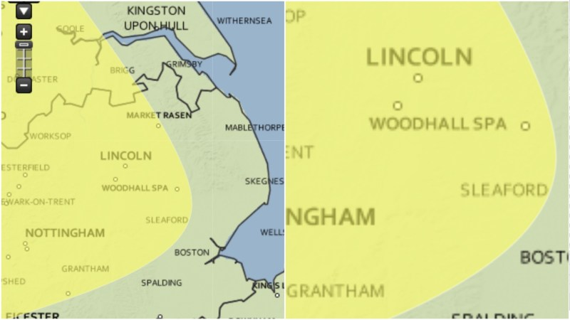 The yellow warnings have moved westerly moving away from Boston and Spalding
