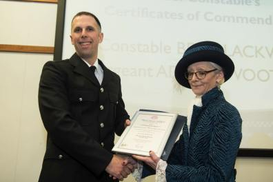 PC Ben Blackwell with Jill Hughes, High Sheriff of Lincolnshire. Photo: Steve Smailes for Lincolnshire Reporter