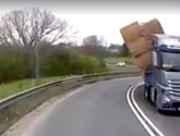 Watch extraordinary dashcam footage of exact moment lorry overturns on A1