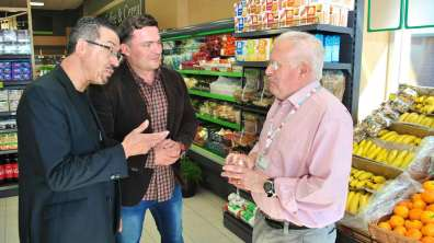 David Lambert and mint founder Krzysztof Lisiecki chatting at the preview event to Ian Evans from Boston Food Bank, one of the charities mint is supporting